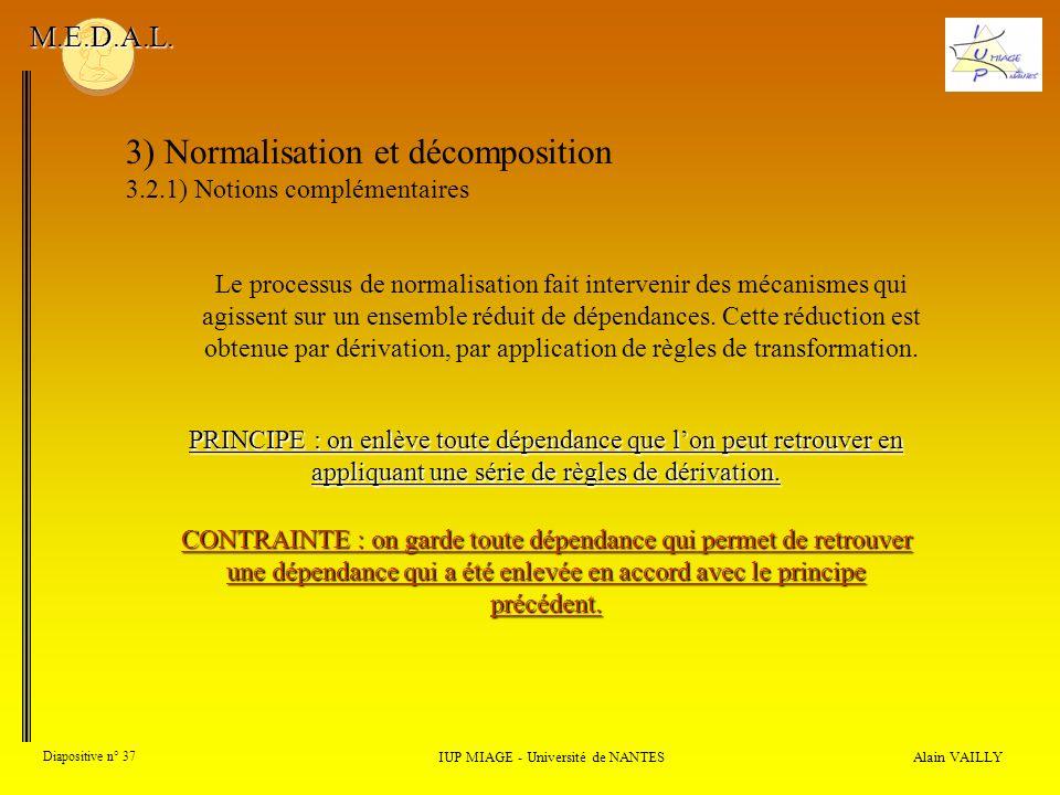 3) Normalisation et décomposition 3.2.1) Notions complémentaires Alain VAILLY Diapositive n° 37 IUP MIAGE - Université de NANTES M.E.D.A.L. Le process