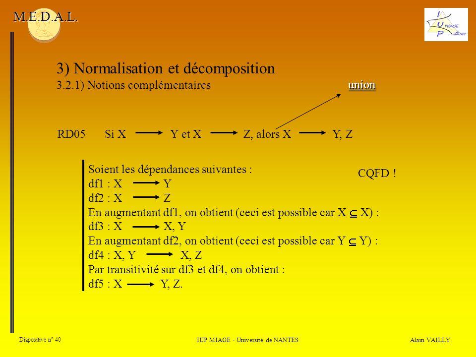 3) Normalisation et décomposition 3.2.1) Notions complémentaires Alain VAILLY Diapositive n° 40 IUP MIAGE - Université de NANTES M.E.D.A.L. union RD05