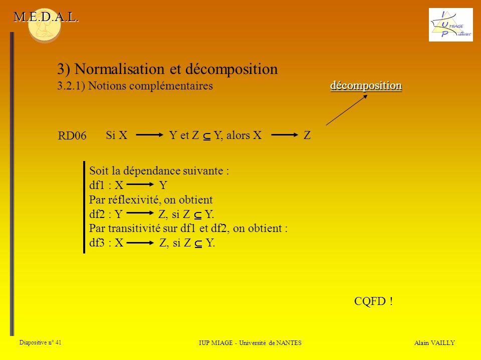 3) Normalisation et décomposition 3.2.1) Notions complémentaires Alain VAILLY Diapositive n° 41 IUP MIAGE - Université de NANTES M.E.D.A.L. décomposit