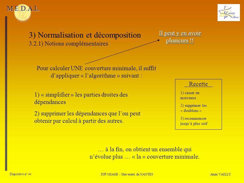 3) Normalisation et décomposition 3.2.1) Notions complémentaires Alain VAILLY Diapositive n° 44 IUP MIAGE - Université de NANTES M.E.D.A.L. Il peut y