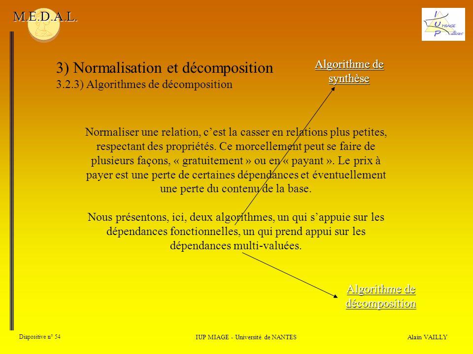 3) Normalisation et décomposition 3.2.3) Algorithmes de décomposition Alain VAILLY Diapositive n° 54 IUP MIAGE - Université de NANTES M.E.D.A.L. Algor