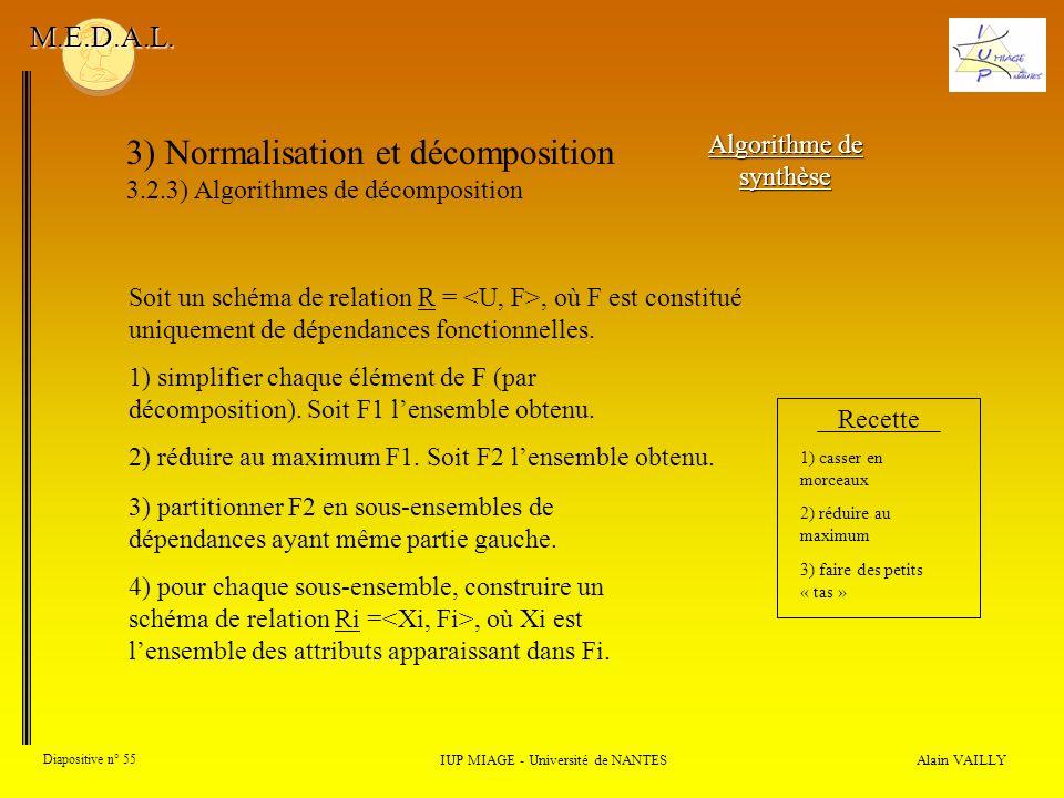 3) Normalisation et décomposition 3.2.3) Algorithmes de décomposition Alain VAILLY Diapositive n° 55 IUP MIAGE - Université de NANTES M.E.D.A.L. Algor