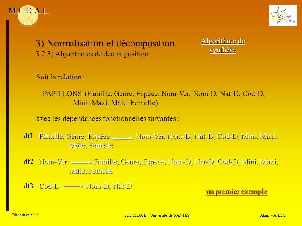 3) Normalisation et décomposition 3.2.3) Algorithmes de décomposition Alain VAILLY Diapositive n° 56 IUP MIAGE - Université de NANTES M.E.D.A.L. Algor