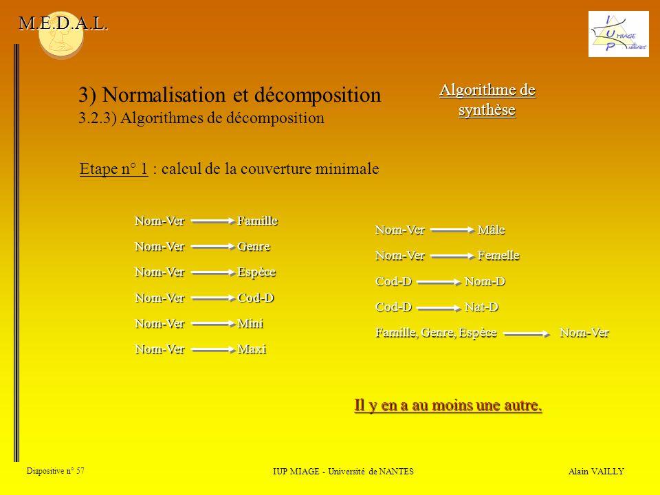 3) Normalisation et décomposition 3.2.3) Algorithmes de décomposition Alain VAILLY Diapositive n° 57 IUP MIAGE - Université de NANTES M.E.D.A.L. Algor
