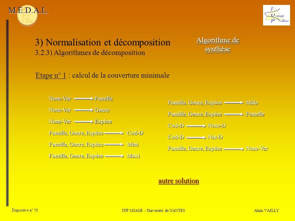 3) Normalisation et décomposition 3.2.3) Algorithmes de décomposition Alain VAILLY Diapositive n° 58 IUP MIAGE - Université de NANTES M.E.D.A.L. Algor