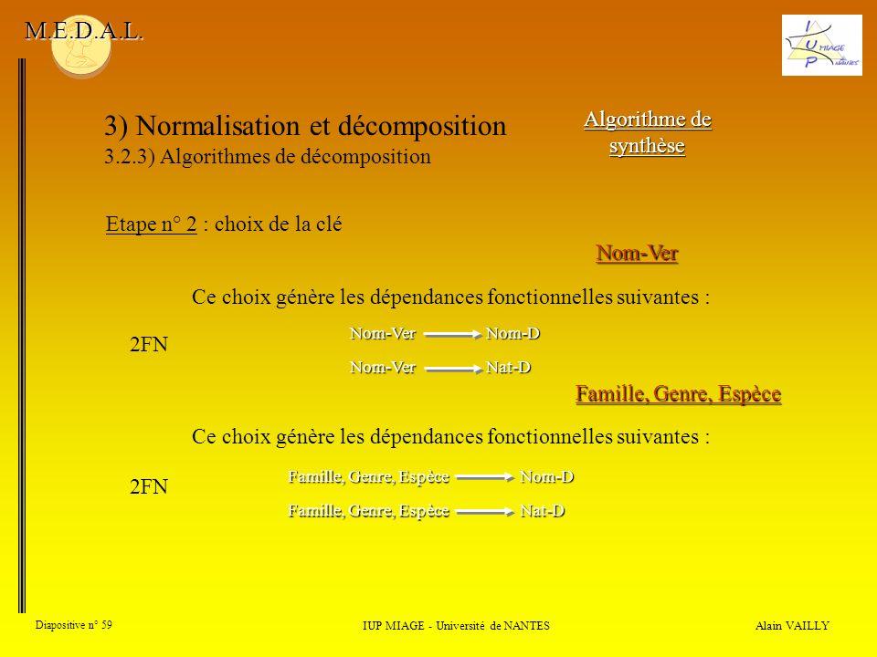 3) Normalisation et décomposition 3.2.3) Algorithmes de décomposition Alain VAILLY Diapositive n° 59 IUP MIAGE - Université de NANTES M.E.D.A.L. Algor