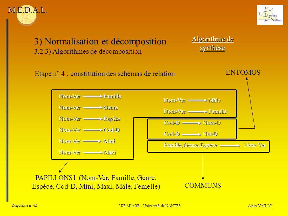 3) Normalisation et décomposition 3.2.3) Algorithmes de décomposition Alain VAILLY Diapositive n° 62 IUP MIAGE - Université de NANTES M.E.D.A.L. Algor