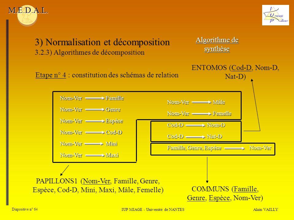 3) Normalisation et décomposition 3.2.3) Algorithmes de décomposition Alain VAILLY Diapositive n° 64 IUP MIAGE - Université de NANTES M.E.D.A.L. Algor