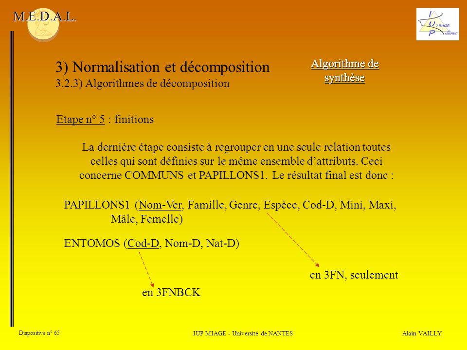 3) Normalisation et décomposition 3.2.3) Algorithmes de décomposition Alain VAILLY Diapositive n° 65 IUP MIAGE - Université de NANTES M.E.D.A.L. Algor