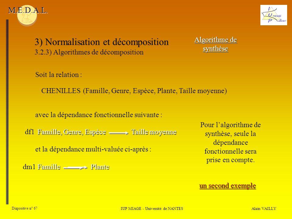3) Normalisation et décomposition 3.2.3) Algorithmes de décomposition Alain VAILLY Diapositive n° 67 IUP MIAGE - Université de NANTES M.E.D.A.L. Algor