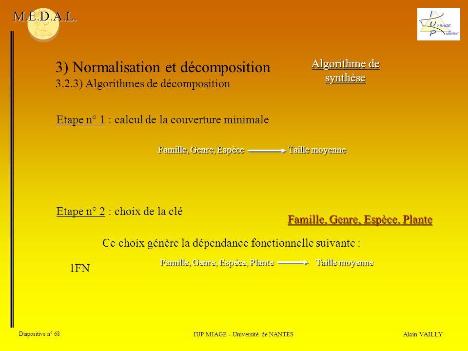 3) Normalisation et décomposition 3.2.3) Algorithmes de décomposition Alain VAILLY Diapositive n° 68 IUP MIAGE - Université de NANTES M.E.D.A.L. Algor