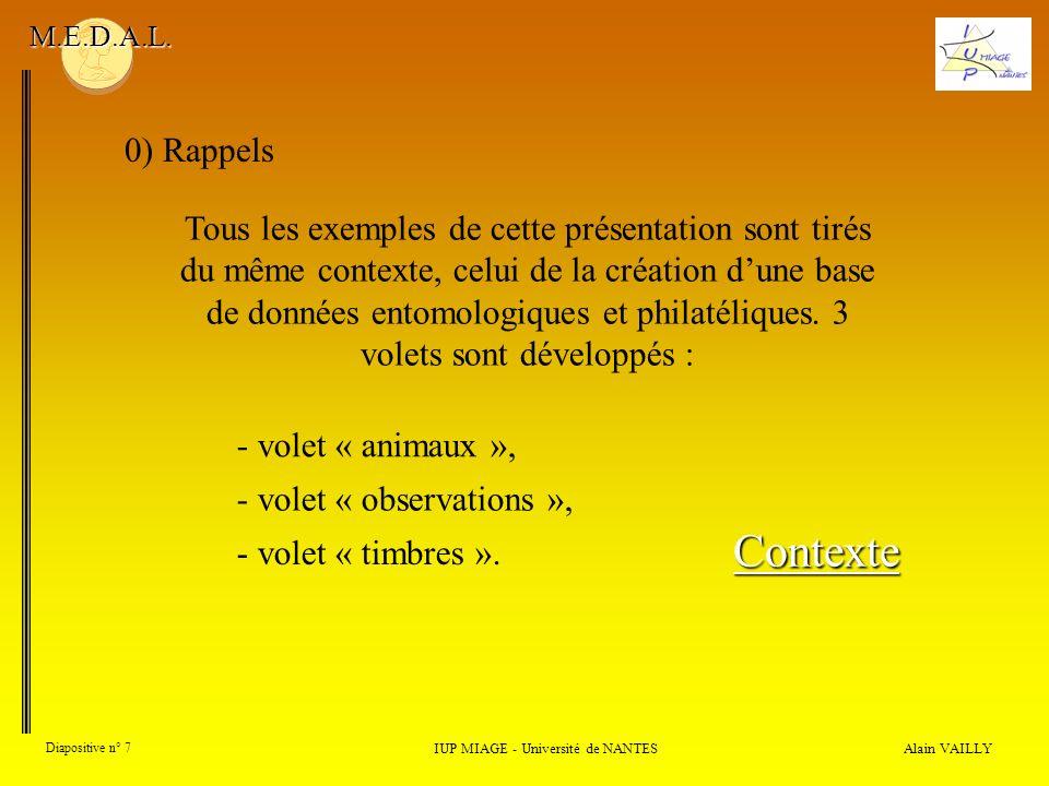 Alain VAILLY Diapositive n° 7 0) Rappels IUP MIAGE - Université de NANTES M.E.D.A.L. Tous les exemples de cette présentation sont tirés du même contex
