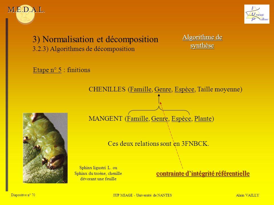 3) Normalisation et décomposition 3.2.3) Algorithmes de décomposition Alain VAILLY Diapositive n° 70 IUP MIAGE - Université de NANTES M.E.D.A.L. Algor
