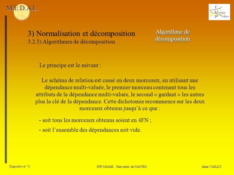 3) Normalisation et décomposition 3.2.3) Algorithmes de décomposition Alain VAILLY Diapositive n° 72 IUP MIAGE - Université de NANTES M.E.D.A.L. Algor
