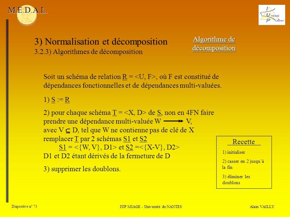 3) Normalisation et décomposition 3.2.3) Algorithmes de décomposition Alain VAILLY Diapositive n° 73 IUP MIAGE - Université de NANTES M.E.D.A.L. Algor