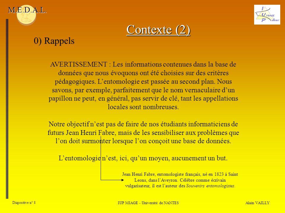 Alain VAILLY Diapositive n° 8 0) Rappels IUP MIAGE - Université de NANTES M.E.D.A.L. Contexte (2) AVERTISSEMENT : Les informations contenues dans la b