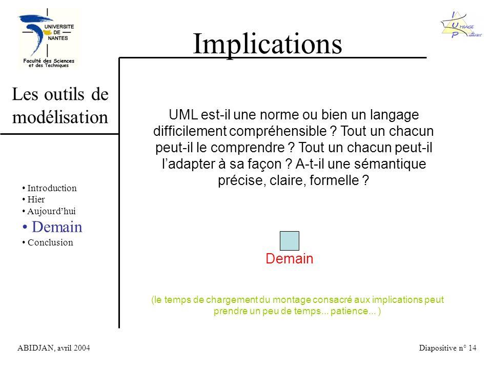 ABIDJAN, avril 2004Diapositive n° 14 Les outils de modélisation Implications UML est-il une norme ou bien un langage difficilement compréhensible .