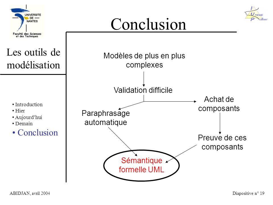 ABIDJAN, avril 2004Diapositive n° 19 Les outils de modélisation Conclusion Introduction Hier Aujourdhui Demain Conclusion Modèles de plus en plus complexes Validation difficile Paraphrasage automatique Achat de composants Preuve de ces composants Sémantique formelle UML