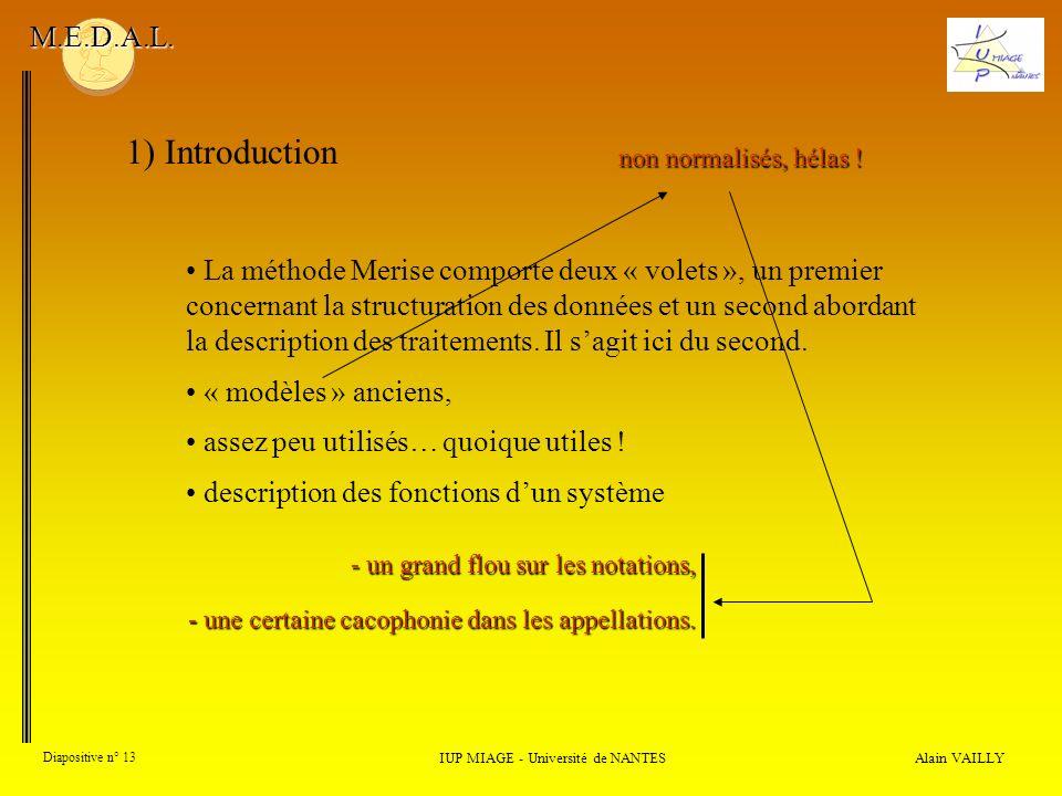 Alain VAILLY Diapositive n° 13 1) Introduction IUP MIAGE - Université de NANTES M.E.D.A.L. La méthode Merise comporte deux « volets », un premier conc