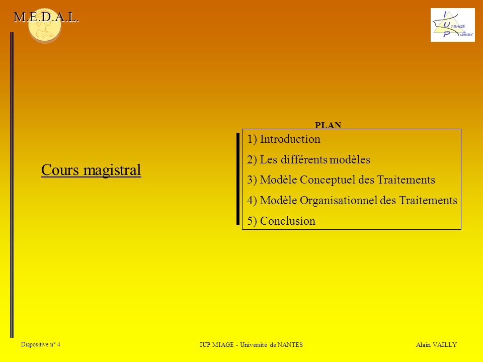 Alain VAILLY Diapositive n° 4 IUP MIAGE - Université de NANTES M.E.D.A.L. Cours magistral 1) Introduction 2) Les différents modèles 3) Modèle Conceptu