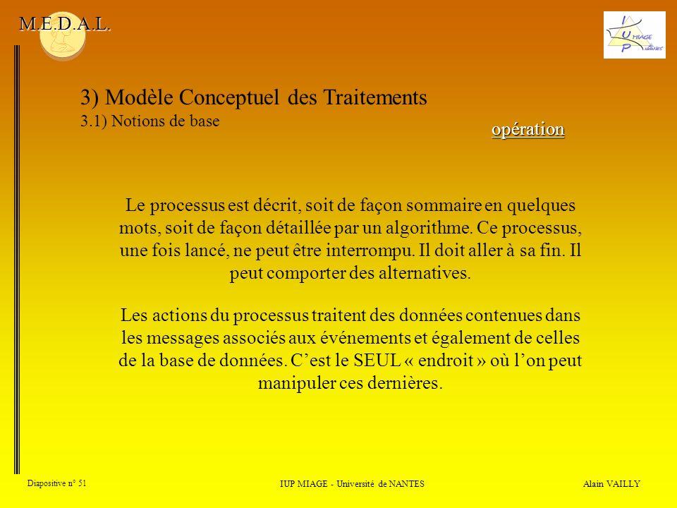 Alain VAILLY Diapositive n° 51 3) Modèle Conceptuel des Traitements 3.1) Notions de base IUP MIAGE - Université de NANTES M.E.D.A.L. Le processus est