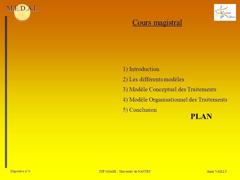 Alain VAILLY Diapositive n° 6 IUP MIAGE - Université de NANTES M.E.D.A.L. Cours magistral PLAN 1) Introduction 2) Les différents modèles 3) Modèle Con
