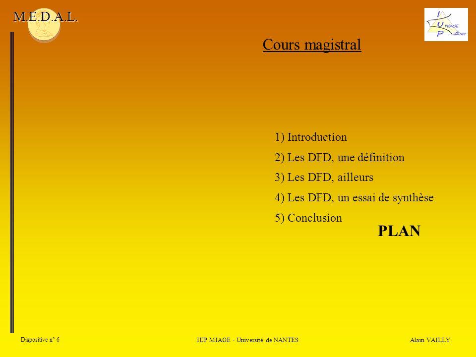 Alain VAILLY Diapositive n° 6 IUP MIAGE - Université de NANTES M.E.D.A.L. Cours magistral 1) Introduction 2) Les DFD, une définition 3) Les DFD, aille