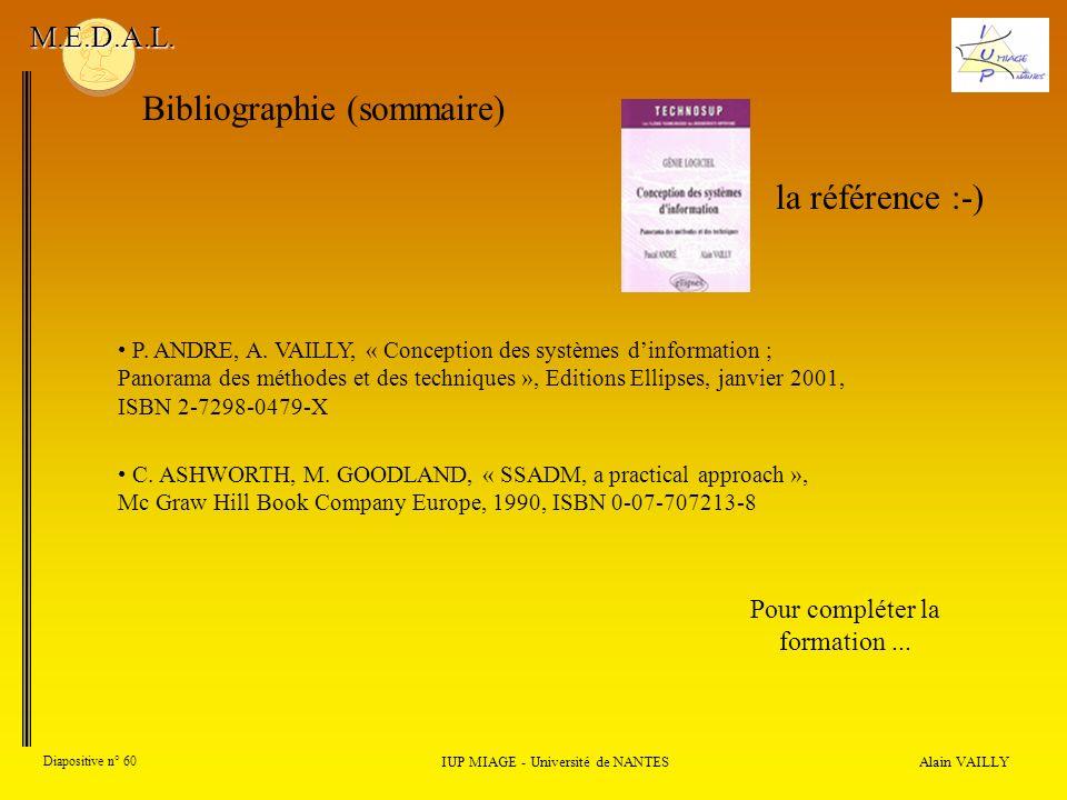 Alain VAILLY Diapositive n° 60 Bibliographie (sommaire) IUP MIAGE - Université de NANTES M.E.D.A.L. Pour compléter la formation... la référence :-) P.