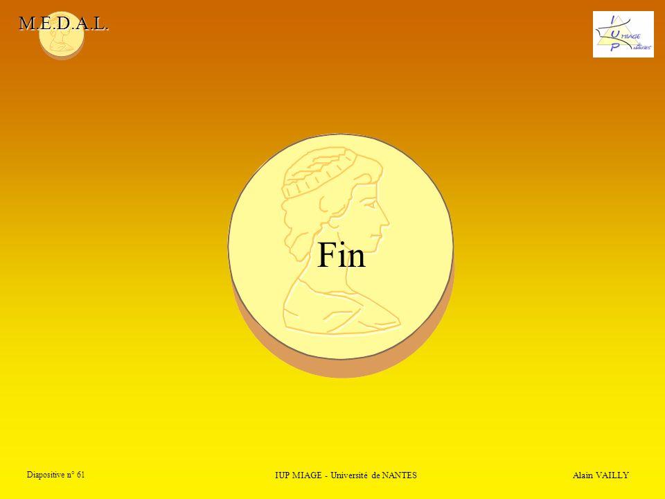 M.E.D.A.L. Alain VAILLY Diapositive n° 61 Fin IUP MIAGE - Université de NANTES