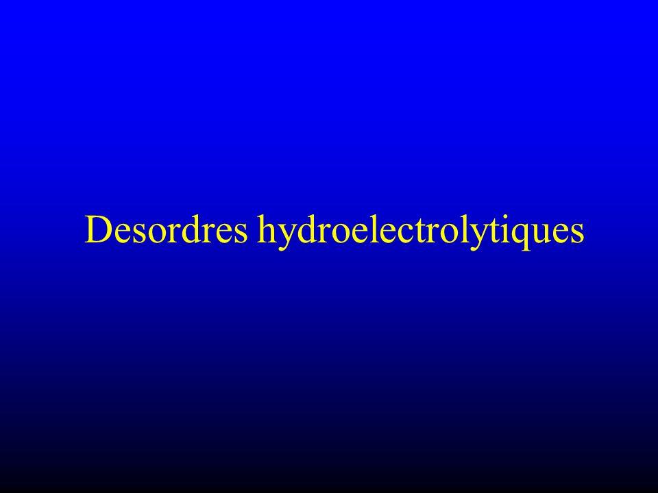 Electrophysiopathologie Hyperkaliémie Dépolarise Augmente lexcitabilité : du système nerveux (hyperreflexie) muscles lisses (diarrhée) = paralysie Augmente la conductance potassique => diminue le potentiel daction ST et QT diminués T ample, pointue, sym… Rythme lent jonct, FV, asystolie I- = choc cardio Hypokaliémie Hyperpolarise = arythmie par réentrée Diminue lexcitabilité : des cellules nerveuses (adynamie) des muscles lisses (vessie, tube dig, etc) Diminue la conductance des canaux K => repolarisation tardive des fibres de Purkinje =>Onde U Hyperpolarisation => diminution du potentiel de membrane => favorise lautomatisme hétérotopique => FV