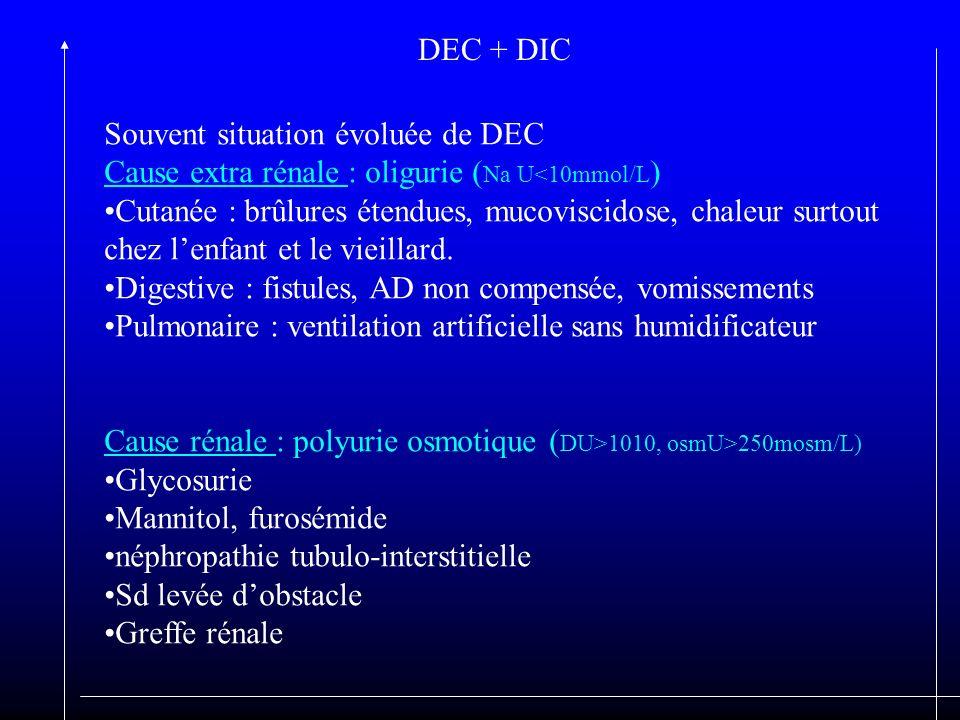 DEC + DIC Souvent situation évoluée de DEC Cause extra rénale : oligurie ( Na U<10mmol/L ) Cutanée : brûlures étendues, mucoviscidose, chaleur surtout