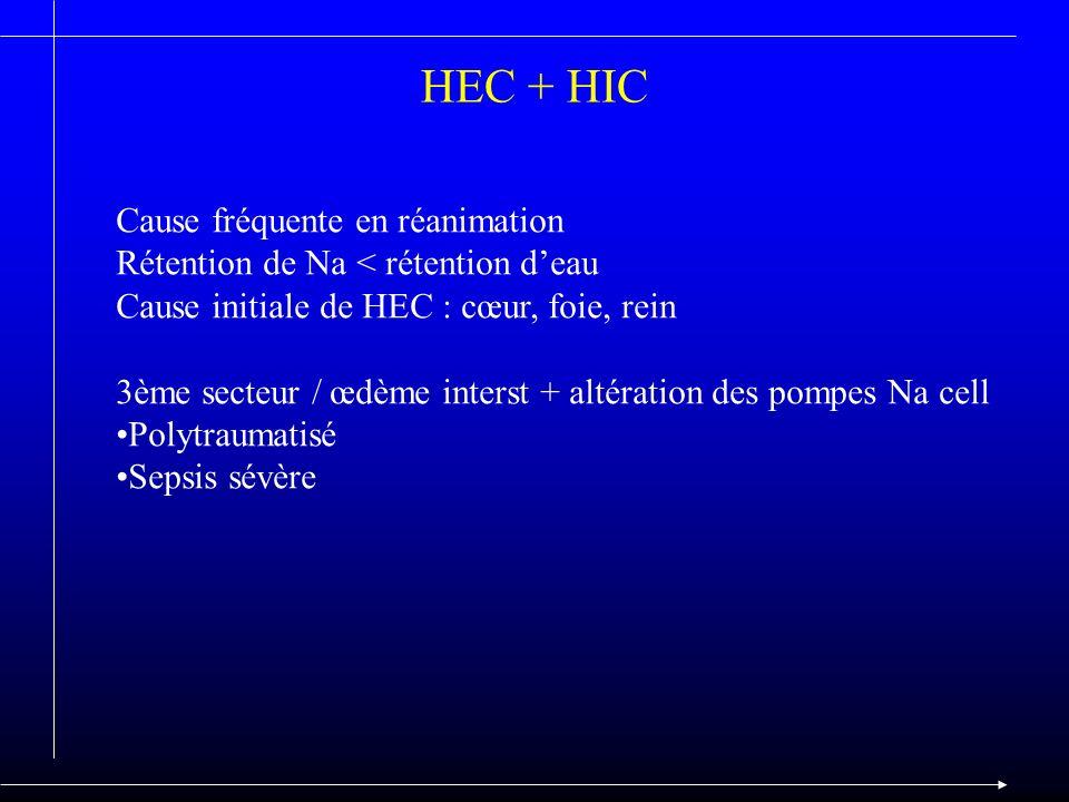 HEC + HIC Cause fréquente en réanimation Rétention de Na < rétention deau Cause initiale de HEC : cœur, foie, rein 3ème secteur / œdème interst + alté