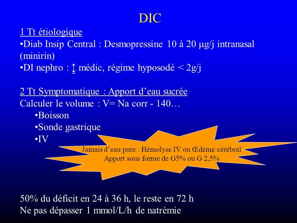 DIC 1 Tt étiologique Diab Insip Central : Desmopressine 10 à 20 g/j intranasal (minirin) DI nephro : médic, régime hyposodé < 2g/j 2 Tt Symptomatique
