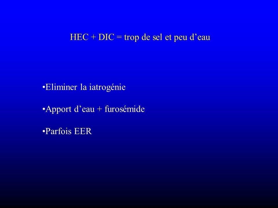 HEC + DIC = trop de sel et peu deau Eliminer la iatrogénie Apport deau + furosémide Parfois EER
