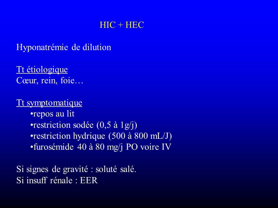 HIC + HEC Hyponatrémie de dilution Tt étiologique Cœur, rein, foie… Tt symptomatique repos au lit restriction sodée (0,5 à 1g/j) restriction hydrique