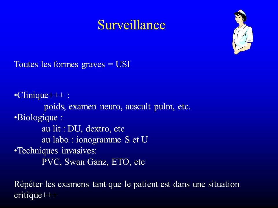 Surveillance Toutes les formes graves = USI Clinique+++ : poids, examen neuro, auscult pulm, etc. Biologique : au lit : DU, dextro, etc au labo : iono