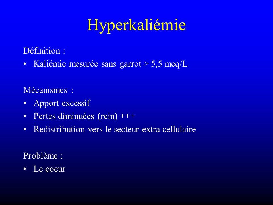 Hyperkaliémie Définition : Kaliémie mesurée sans garrot > 5,5 meq/L Mécanismes : Apport excessif Pertes diminuées (rein) +++ Redistribution vers le se