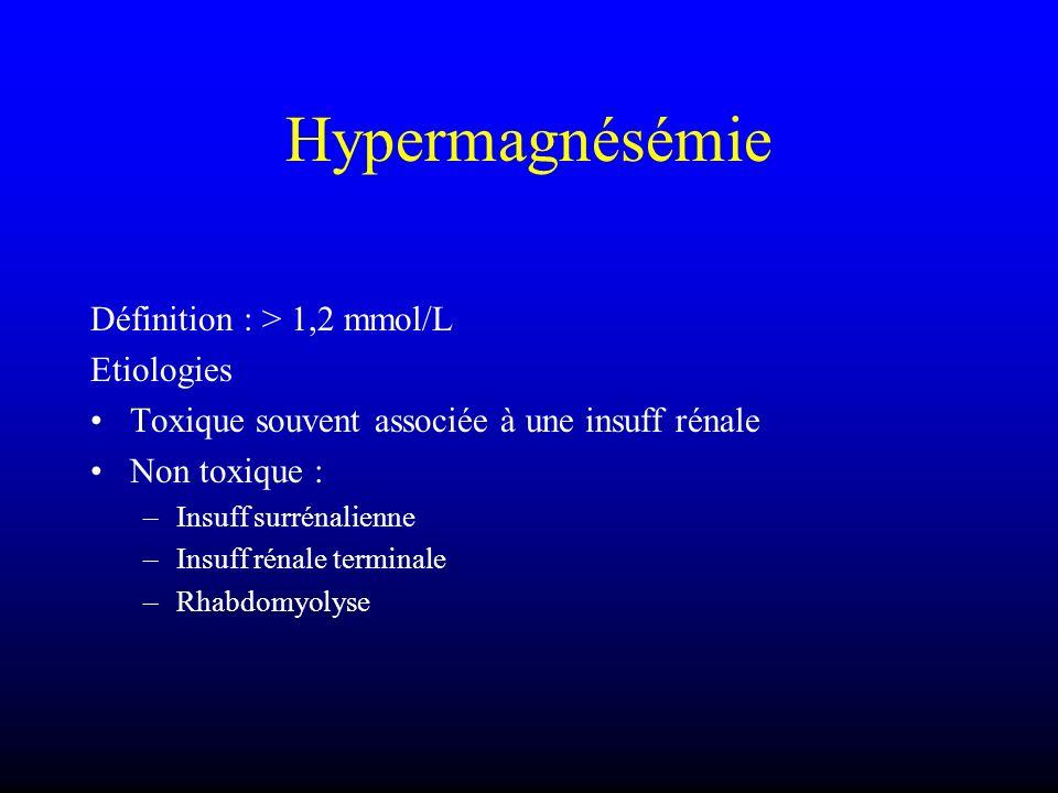 Hypermagnésémie Définition : > 1,2 mmol/L Etiologies Toxique souvent associée à une insuff rénale Non toxique : –Insuff surrénalienne –Insuff rénale t