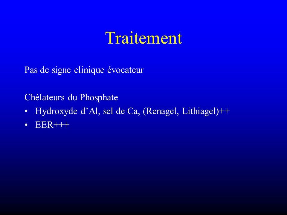 Traitement Pas de signe clinique évocateur Chélateurs du Phosphate Hydroxyde dAl, sel de Ca, (Renagel, Lithiagel)++ EER+++