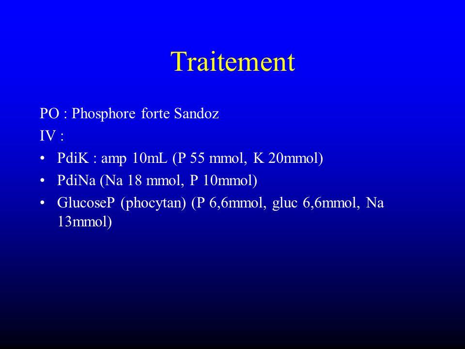 Traitement PO : Phosphore forte Sandoz IV : PdiK : amp 10mL (P 55 mmol, K 20mmol) PdiNa (Na 18 mmol, P 10mmol) GlucoseP (phocytan) (P 6,6mmol, gluc 6,