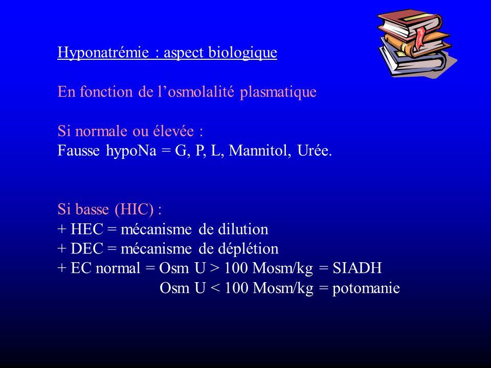 Hyponatrémie : aspect biologique En fonction de losmolalité plasmatique Si normale ou élevée : Fausse hypoNa = G, P, L, Mannitol, Urée. Si basse (HIC)