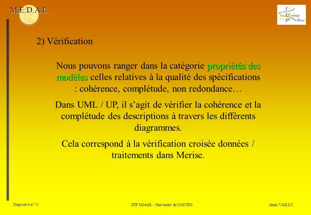 Alain VAILLY Diapositive n° 10 2) Vérification IUP MIAGE - Université de NANTES M.E.D.A.L. Dans UML / UP, il sagit de vérifier la cohérence et la comp