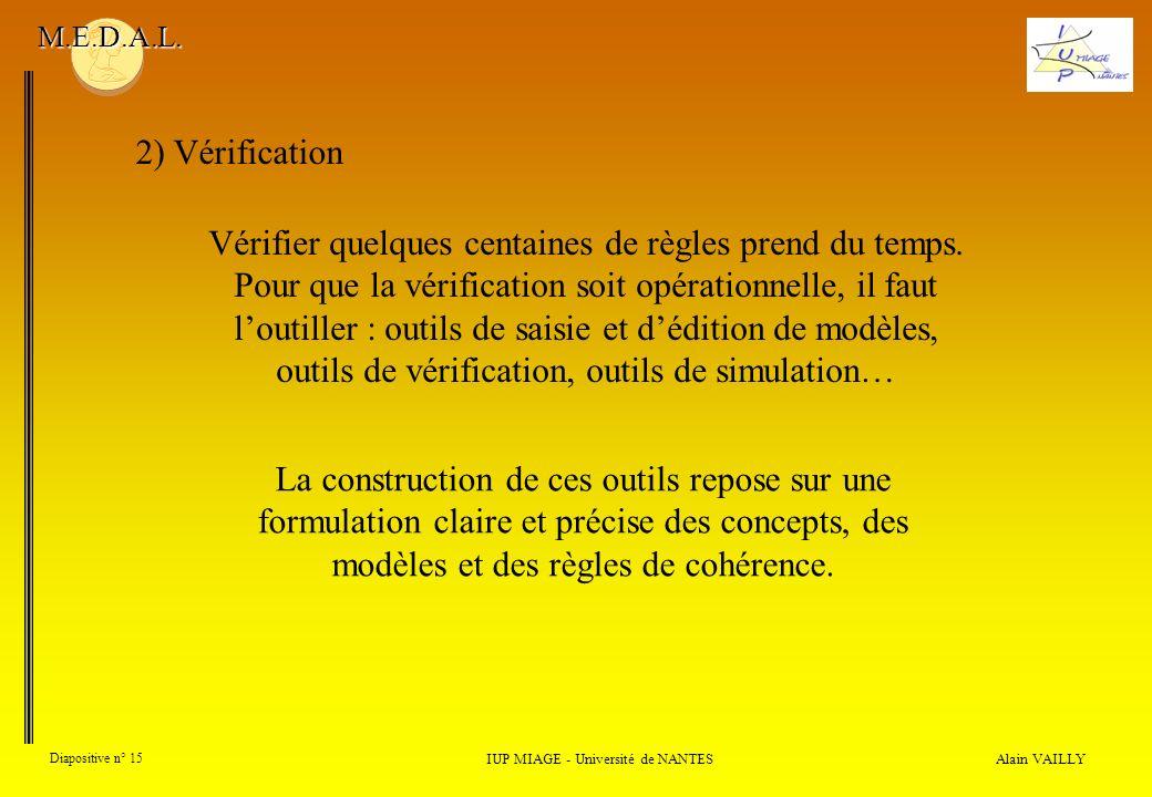 Alain VAILLY Diapositive n° 15 2) Vérification IUP MIAGE - Université de NANTES M.E.D.A.L. Vérifier quelques centaines de règles prend du temps. Pour