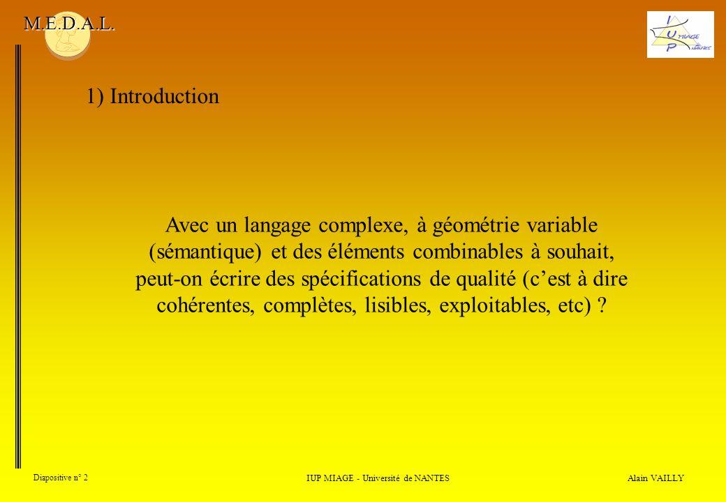 Alain VAILLY Diapositive n° 2 1) Introduction IUP MIAGE - Université de NANTES M.E.D.A.L. Avec un langage complexe, à géométrie variable (sémantique)