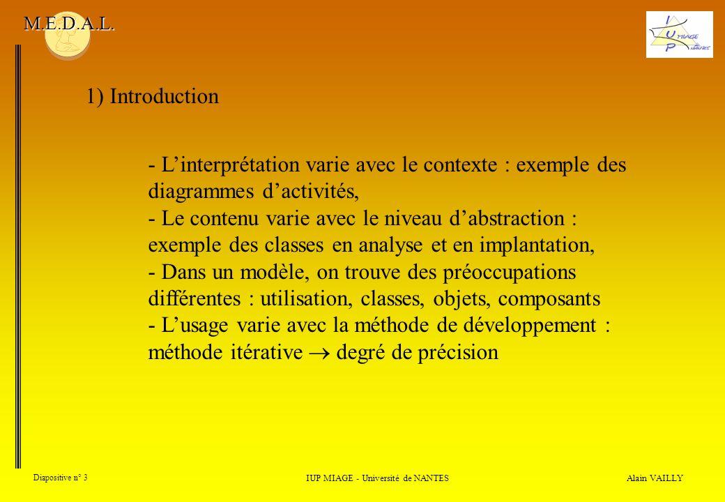 Alain VAILLY Diapositive n° 3 IUP MIAGE - Université de NANTES M.E.D.A.L. - Linterprétation varie avec le contexte : exemple des diagrammes dactivités
