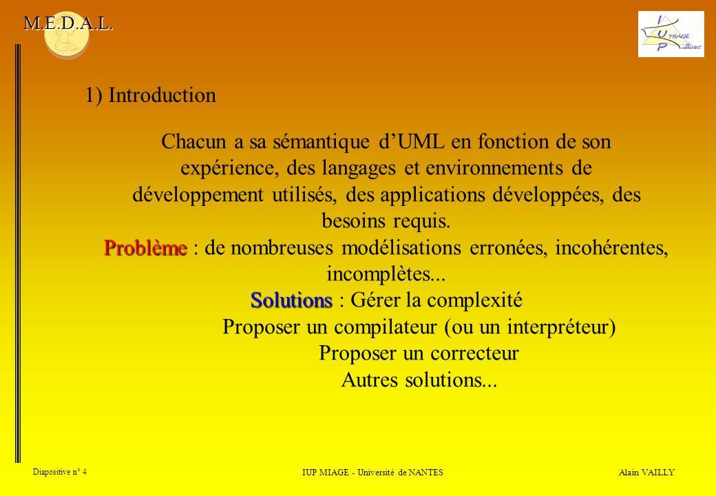 Alain VAILLY Diapositive n° 4 IUP MIAGE - Université de NANTES M.E.D.A.L. Chacun a sa sémantique dUML en fonction de son expérience, des langages et e