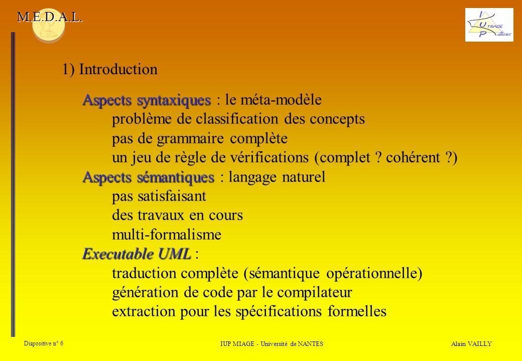 Alain VAILLY Diapositive n° 6 IUP MIAGE - Université de NANTES M.E.D.A.L. Aspects syntaxiques Aspects syntaxiques : le méta-modèle problème de classif