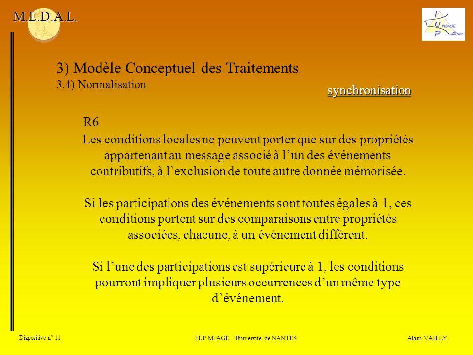 Alain VAILLY Diapositive n° 11 3) Modèle Conceptuel des Traitements 3.4) Normalisation IUP MIAGE - Université de NANTES M.E.D.A.L. Les conditions loca