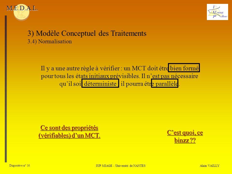 Alain VAILLY Diapositive n° 16 3) Modèle Conceptuel des Traitements 3.4) Normalisation IUP MIAGE - Université de NANTES M.E.D.A.L. Il y a une autre rè