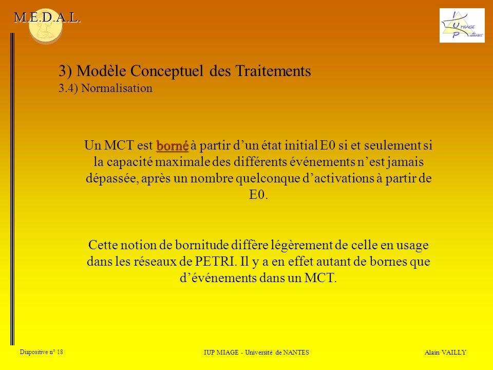Alain VAILLY Diapositive n° 18 3) Modèle Conceptuel des Traitements 3.4) Normalisation IUP MIAGE - Université de NANTES M.E.D.A.L. borné Un MCT est bo